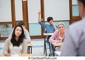 levantar la mano, pregunte, estudiante, pregunta