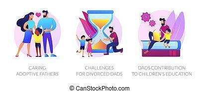 levantar, niños, illustrations., vector, concepto, resumen