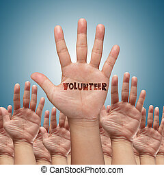 levantar, voluntario, manos, grupo