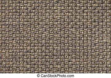 leve marrom, têxtil, fundo, com, checkered, padrão, closeup., estrutura, de, a, tecido, macro.