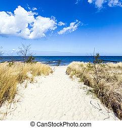 levee, com, arenoso, caminho, para, praia, em, mar báltico