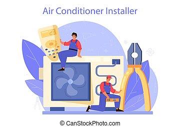 levegő, instalation, nedvességtartalom szabályozás, service., repairman, rendbehozás