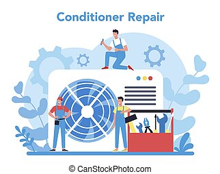 levegő, repairman, instalation, concept., rendbehozás, nedvességtartalom szabályozás, szolgáltatás