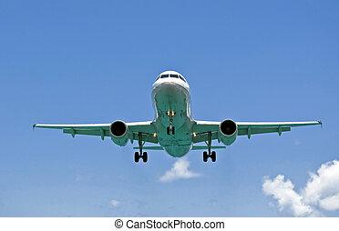 levegő, transportation:, utas, repülőgép.