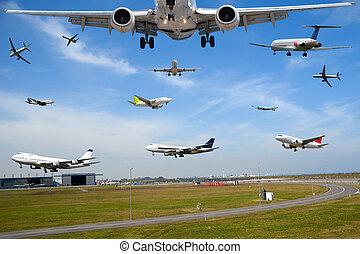 levegő utazás, -, repülőgép, forgalom, alatt, repülőtér,...