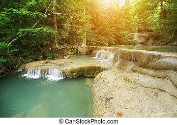 Level 1 of Erawan Waterfall in Kanchanaburi, Thailand