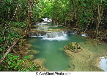 Level 1 of Huay Mae Kamin waterfall in Khuean Srinagarindra National Park, Kanchanaburi, Thailand