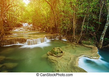 Level 1 of Huay Mae Kamin waterfall in Khuean Srinagarindra...