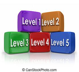 Level 1 Through 5 Steps Grades Color Blocked Cubes
