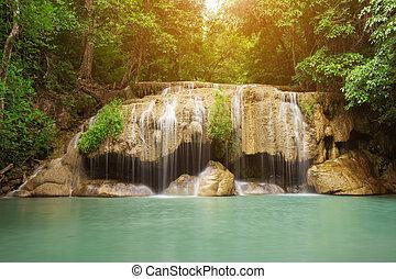 Level 2 of Erawan Waterfall in Kanchanaburi, Thailand