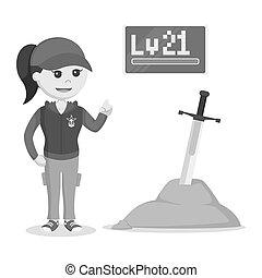 Level 21 female rpg gamer standing beside legendary sword...
