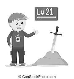 Level 21 rpg gamer standing beside legendary sword black and...