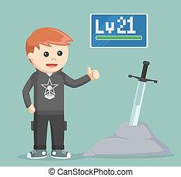 level 21 rpg gamer standing beside legendary sword