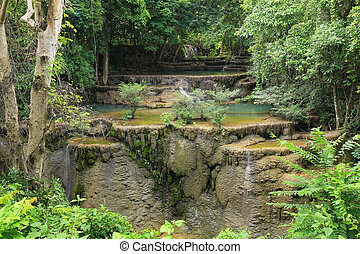 Level 4 of Huay Mae Kamin waterfall dry out in summer, Kanchanaburi, Thailand