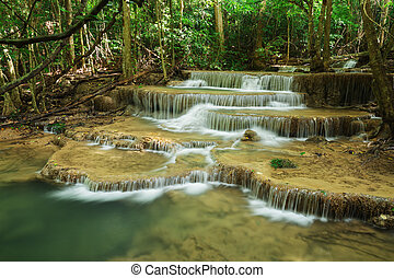 Level 6 of Huay Mae Kamin waterfall in Khuean Srinagarindra National Park, Kanchanaburi, Thailand