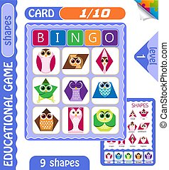 level Bingo shapes owls 1