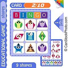 level Bingo shapes owls 2