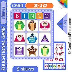 level Bingo shapes owls 3