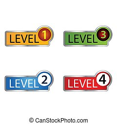 Level colorful button set. vector modern material style buttons