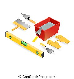 Level, gloves, spatula, mortar. Isometric construction tools.