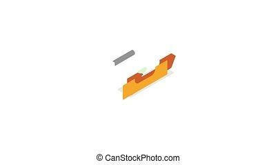 Level measurement icon animation isometric best object on white backgound