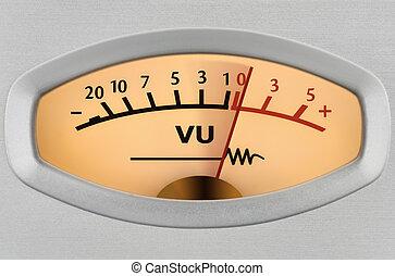 Level meter closeup - Closeup of an analog measuring device ...