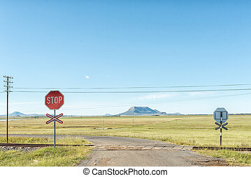 Level railway road crossing at Tweespruit in the Free State