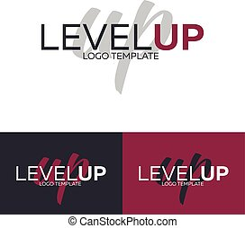 Level Up logo. Vector logo template. Logotype concept. -...