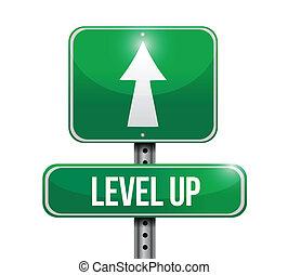 level up road sign illustration design over a white...
