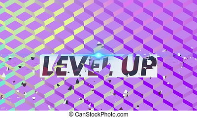 Digital animation of Level up text and glowing blue spot of light against abstract purple background