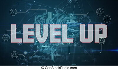Digital animation of Level up text and data processing over network of digital icons against blue background. Global networking and business concept