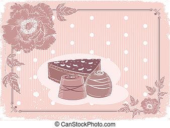 levelezőlap, édesség, csokoládé, pasztell, kártya, háttér, virágos, .vector, szüret, colors.