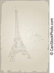 levelezőlap, eiffel, párizs, franciaország, bástya, kéz, rajz