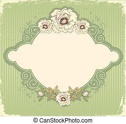 levelezőlap, szüret, háttér, szöveg, virágos, .flowers