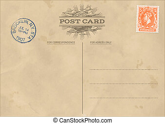 levelezőlap, szüret, vektor, sablon