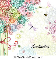 levelezőlap, tervezés, noha, dekoratív, fa