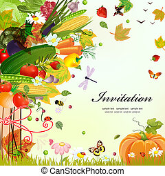 levelezőlap, tervezés, noha, dekoratív, fa, növényi