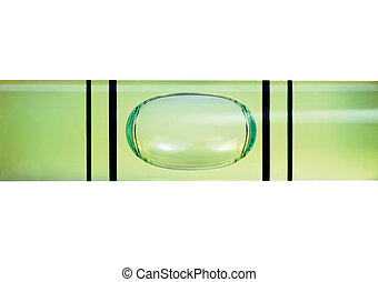 Levelled spirit level gauge macro closeup isolated -...