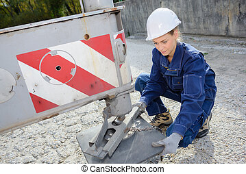 levelling the construction truck