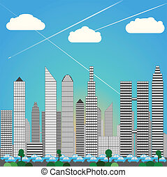 Levels of Skyscprapers as City Downtown Skyline, rush hour Traffic with cars. Daylight, blue color set vector illustration.