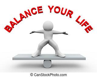 leven, -, 3d, evenwicht, jouw, man