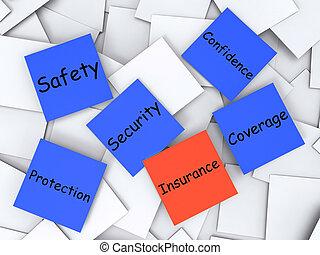 leven, activa, aantekening, dekking, post-it, verzekering, optredens
