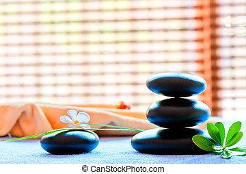 leven, bloem, zen-gelijkvormig, stijl, black , steen, nog