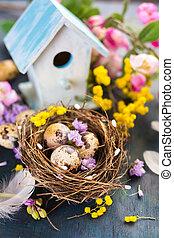 leven, bloemen, pasen, nog, lente, eitjes