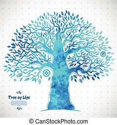 leven, boompje, watercolor, vector, ethnische , uniek