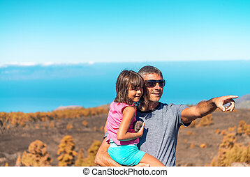 leven, buiten, dochter, wijzende, somewhere, vader, vinger, het genieten van