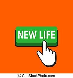 leven, button., hand, cursor, nieuw, muiskliken