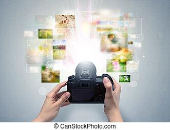 leven, captures, hand, fototoestel, digitale , evenementen