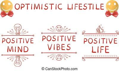 leven, communie, verstand, positief, boog, geel gezicht, realistisch, vector, optimistisch, hand, lifestyle:, sphere-smiley, getrokken, vibes, rood