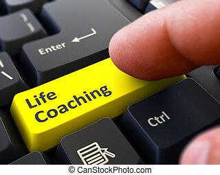 leven, concept., button., persoon, coachend, toetsenbord, klikken